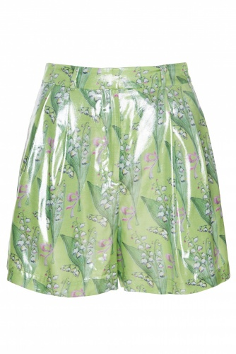 Metallic Floral-printed Shorts