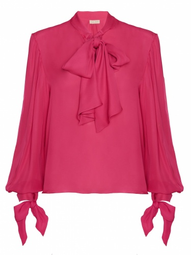 Silk Chiffon Blouse With Bows