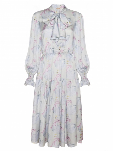 Swan-printed Midi Dress With Bow